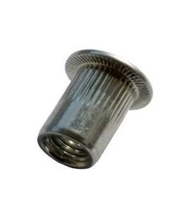 Заклепка M12*23 мм из нержавеющей стали с внутренней резьбой, цилиндрический бортик, с насечкой
