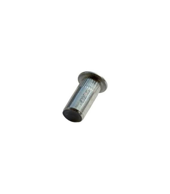 Заклепка M6*22 мм из стали с внутренней резьбой, цилиндрический бортик, закрытая с насечкой